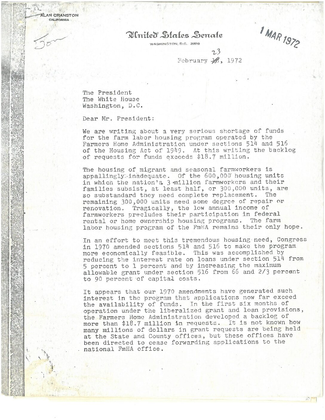 Letter to Nixon From Senators on Farmworker Housing Shortage