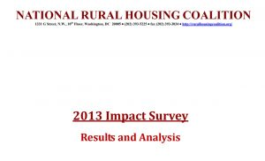 2013 NRHC Impact Survey Report