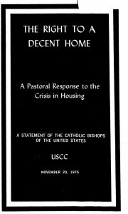 The Right to a Decent Home: A Pastoral Response to the Crisis in Housing