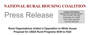 Rural Organizations Join in Opposition to White House Proposal to Shift USDA Rural Programs to HUD